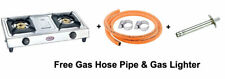 Prestige Star Stainless Steel 2 Brass Burner LPG Gas Stove Free Gas Pipe,Lighter