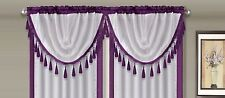 AMY 1PC Purple  White Faux Silk Rod Pocket Swag Waterfall Dressing Valance