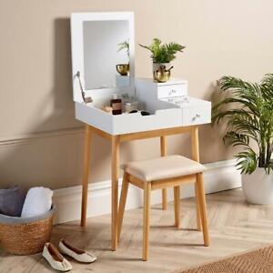 White Dressing Table 2 Drawer Vanity Set Hinged Mirror Makeup Desk Padded Stool