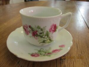 Vintage Pink Rose & Lily of the Valley Pattern Bone China Porcelain Cup & Saucer
