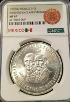 1960 MEXICO SILVER 10 PESOS INDEPENDENCE ANNIVERSARY NGC MS 65 GEM BU MONSTER