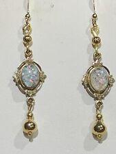 New Item-Handcrafted Vintage Opal Art-Deco Earrings w/ drop-.14K gold ear wires