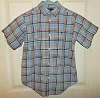 Ralph Lauren Boys Size 7 Button Down Short Sleeve Blue & Red Plaid Shirt EUC