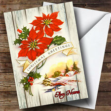 Wood Red Flower Vintage Traditional Personalised Christmas Card