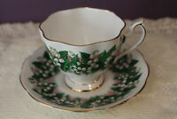 BEAUTIFUL QUEEN ANNE 'LILY OF THE VALLEY' TEA CUP AND SAUCE GOLD TRIM