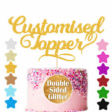Personalised Glitter Cake Topper Custiomized Any Word  Age Name Party Decoration