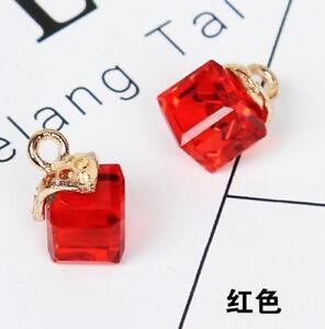 10pcs Crystal cube pendant earring DIY Handmade Bow pendant accessories