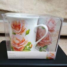 New In Box Porcelain Peach Rose Mug Set Premier Housewares FREE POST