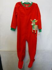 BOYS SIZE 5T CARTER'S MICROFLEECE RED REINDEER FOOTED PAJAMAS NEW #16896