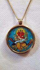 Handmade Brass Glass Framed Hindu Deity God Ganesha PhotoPrint Pendant and Chain