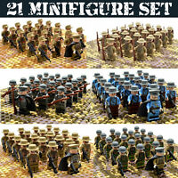 WW2 Military Army Soldiers 21pcs Set - WWII Weapons British US Russia Japan etc