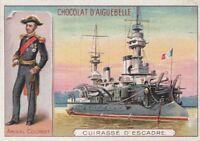 chromo aiguebelle-  cuirassé d'escadre / amiral courbet