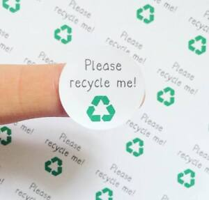 Please Recycle Me Stickers Round Packaging Recycle Glass Plastic Cans Stickers