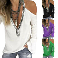 Womens Deep V Neck Cold Shoulder Tops Ladies Long Sleeve Casual T-Shirt Blouse