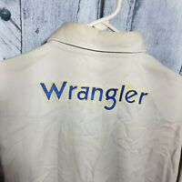 Vintage Wrangler Mens Size Large Long Sleeve Shirt Spell Out Khaki Yellow Multi