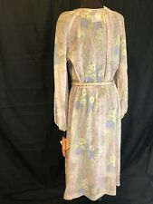 NWT Leslie Fay Womens Vintage Sheer floral sheath dress belt keyhole tie top 18