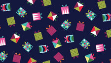 Makower Patchwork Christmas Fabric Wrap It Up Presents Blue - Per 1/4 Metre
