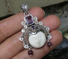Sterling Silver and Amethyst Carved Bali Goddess Pendant GDP-1466