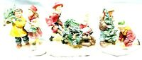 PR Christmas Holiday Season Themed Porcelain Figurines Lot Of 3 Vintage Pieces