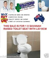 "RAISED TOILET SEAT WITH LID SAVANAH 100MM  (4"") EASY CLIP ON"
