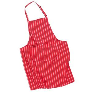 Butchers Bib Apron With Pocket S855 Red With White Stripe