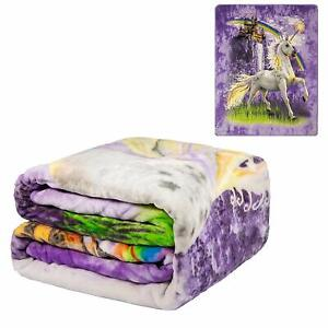 JPI Signature Collection Unicorn Castle Queen Size FLANNEL Blanket Faux Mink
