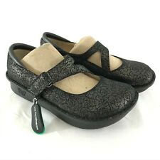 Alegria Womens Dayna Mary Jane Comfort Clogs Floral Gray Wedge Leather 37 US 7
