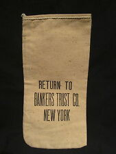 BANKERS TRUST Co. NEW YORK - vintage canvas deposit bag Bank Bag