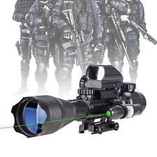 4-16x50 Rangefinder Rifle Scope Combo Holographic Reflex Dot Sight Green Laser