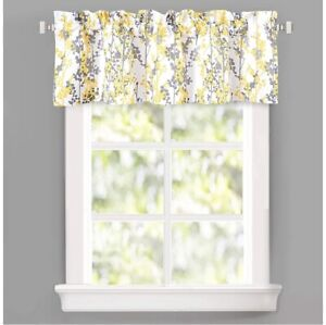 Leah Abstract Floral Blossom Ink Thermal Insulated Window valance curtain