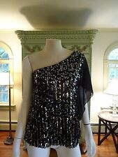 DRESSBARN  PETITE SEXY TOP, PM, BLACK ,SHEER ONE SHOULDER , SEQUINS, OCCASION