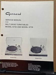 Original Service Manual for Garrard GT-25 GT-35 P Turntables ~Operating Ins