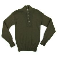 Vintage Jack Young Mens Military Henley Sweater Sz Medium Olive Drab 100% Wool