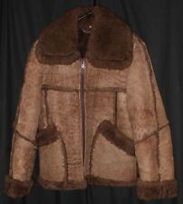 Vtg Shearling Jacket Short Zip Up Rancher Cowboy Western Rodeo Marbled Brown 38