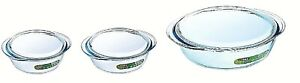 Pyrex Essentials Transparent Glass Round Casserole High Resistance with Lid New