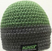 Kast Extreme Fishing Gear Crocheted Beanie Green & Grey NWT