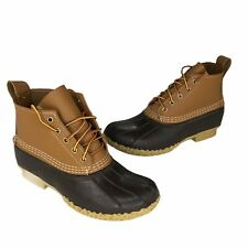 """LL Bean Original Womens Sz 9 Duck Boots Tan 6"""" Waterproof Ankle Mid Made in USA"""