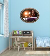 """24"""" Porthole Space Window SOLAR SYSTEM #1 OVAL Wall Decal Graphic Art Sticker"""