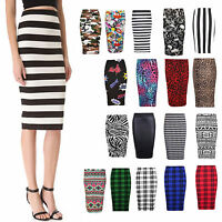 LADIES WOMENS  MIDI BODYCON PENCIL PLAIN PRINTED HIGH WAIST TUBE SKIRT PLUS 8-26