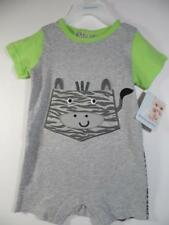 New Buster Brown Boy's Front & Back Gray & Green Jungle Zebra One Pc Romper, 18M
