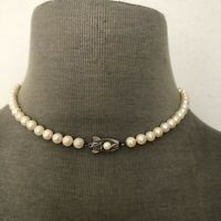"Vintage Pearl Strand Necklace Sterling Silver Clasp 16"" 5mm"