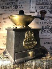 More details for antique hand crank coffee grinder iron brass mill vintage kitchen kitchenalia