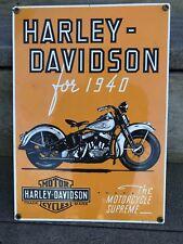 Antique HARLEY DAVIDSON MOTORCYCLE For 1940 WL PORCELAIN METAL GAS OIL SIGN