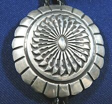 NATIVE AMERICAN STERLING Stamped Domed HANDMADE BOLO TIE