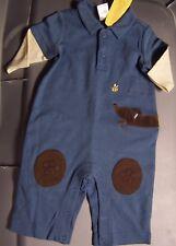 NWT Vintage GYMBOREE Teenie Weenie Pups Blue Longall Romper Infant 0-3 mo  HTF