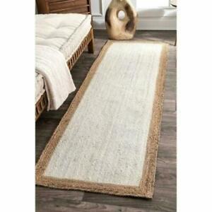 Rug 100% Natural Jute 3x10 Feet Vintage Area Rug Braided Style Runner Rug Carpet