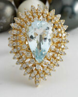 6.83 Carat Natural Blue Aquamarine and Diamonds in 14K Solid Yellow Gold Ring