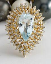 6.83 Quilate Natural Azul Aguamarina y Diamantes en 14K Sólido Anillo Oro
