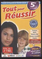 NEUF LOGICIEL PC TOUT POUR REUSSIR 5e 12-13 ANS 1700 EXERCICES + ASSR REVISION