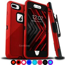 For iPhone 6 7 8 Plus Shockproof Protective Case W/ Belt Clip + Screen Protector